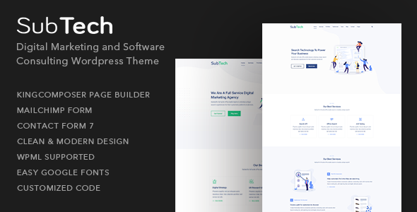 SubTech - Digital Marketing and Software Consulting WordPress Theme
